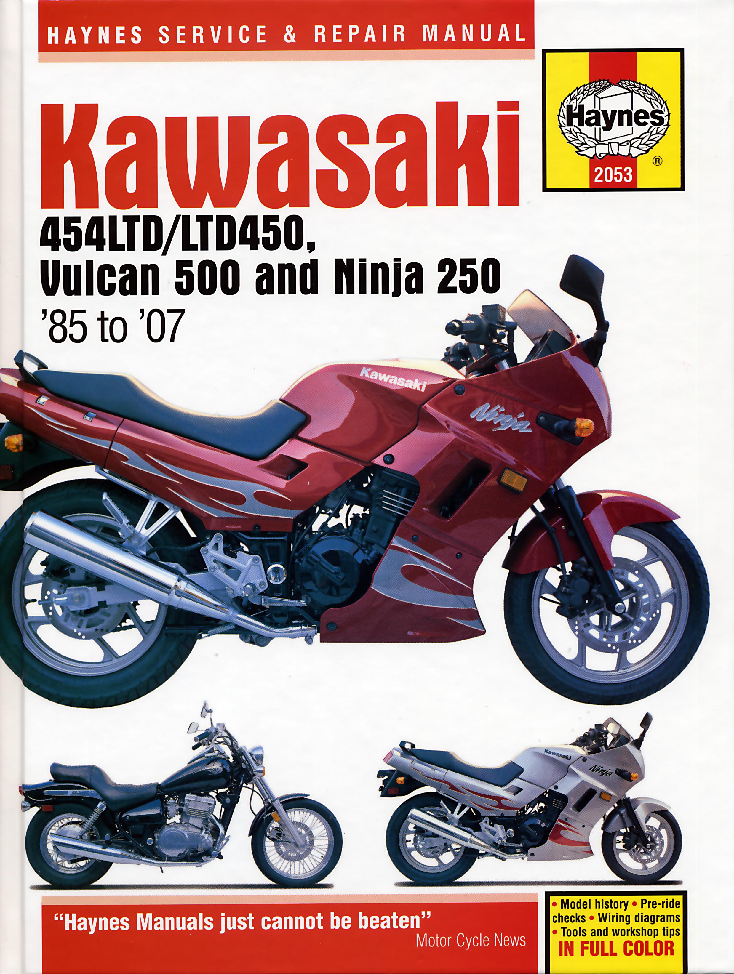 Kawasaki 454LTD LTD450 Vulcan 500 & Ninja 250 85 07 Haynes Repair Manual  Haynes VerkstadhanbokHaynes Verkstadhanbok